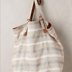 Anthropologie Striped Linen Tote Bag